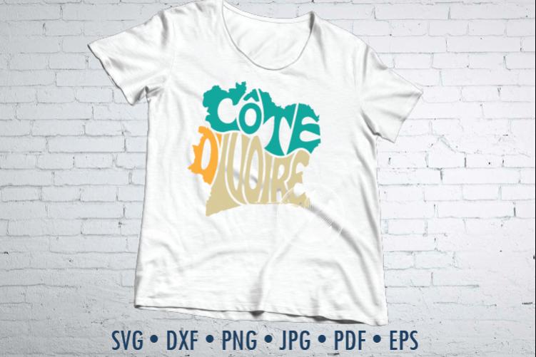 Cote d'Ivoire Word Art, Svg Dxf Eps Png Jpg, map shape example image 1
