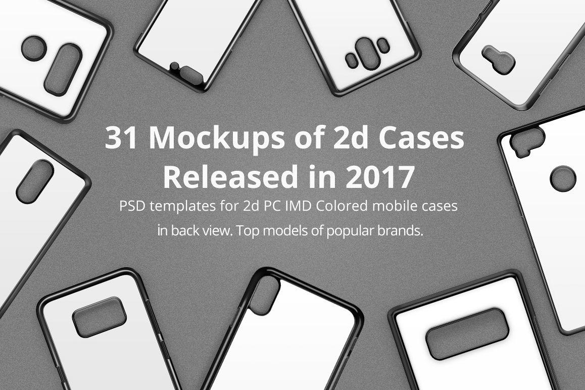 2d IMD Phone Case Mockup Bundle of 31 PSDs Released in 2017 example image 1