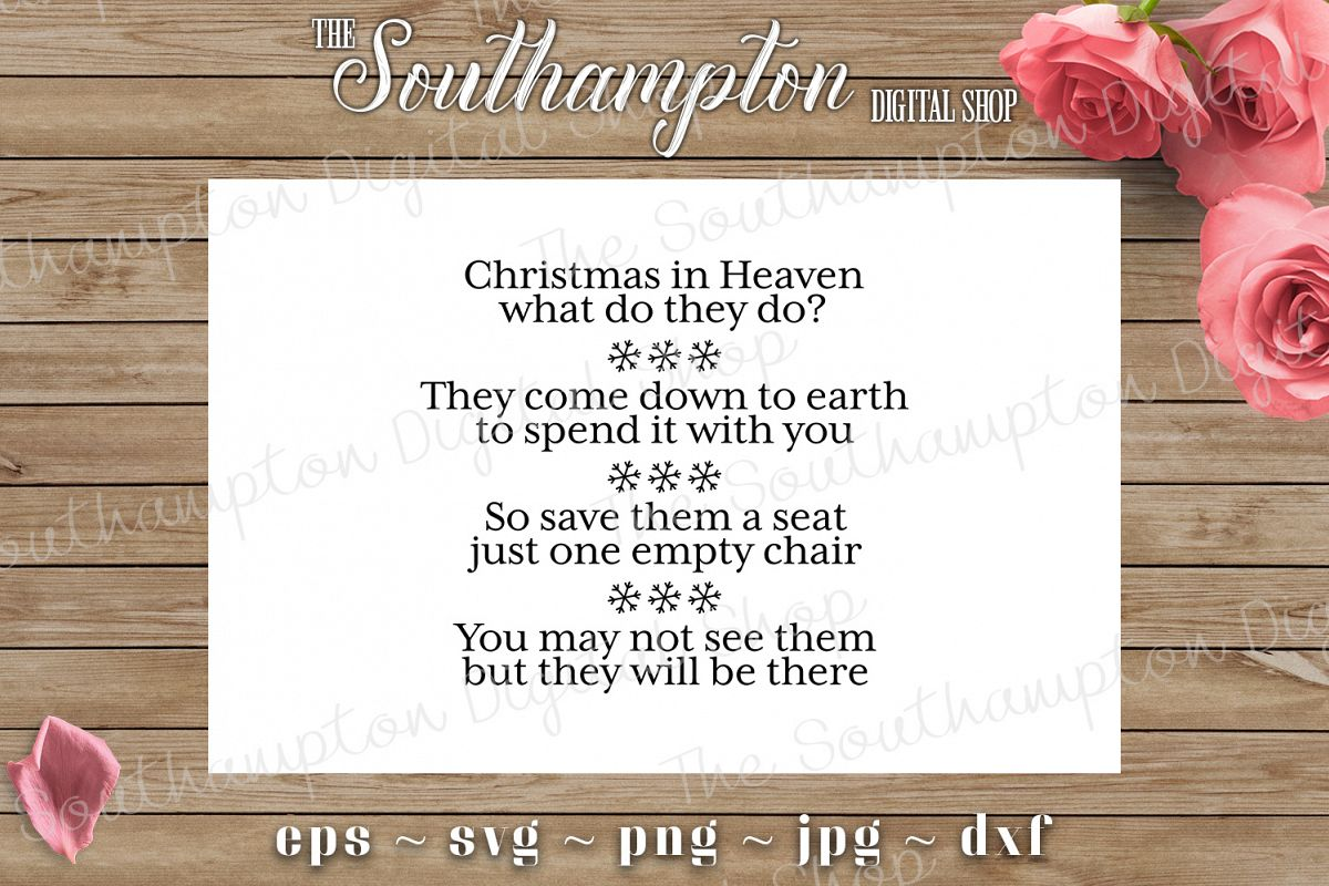 Christmas In Heaven Poem Svg.Beautiful Christmas Poem Quote