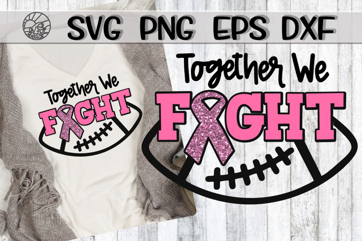 Together We Fight - Football - Ribbon - SVG PNG DXF EPS example image 1