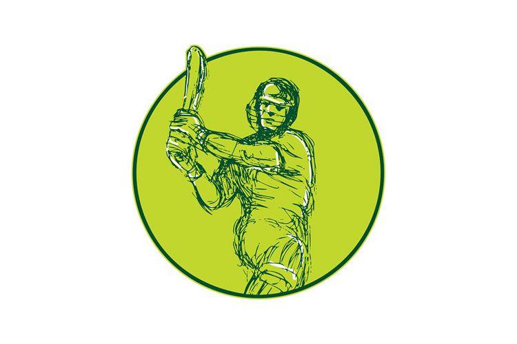Cricket Player Batsman Batting Drawing example image 1