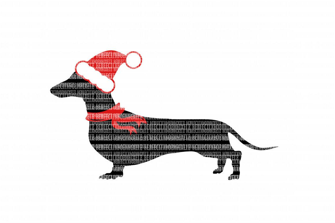 Dachshund Christmas SVG Files Cut Files Heat Transfer Vinyl Scrapbooking Stencil EPS DXF Silhouette Cameo Cricut Commercial Use example image 1