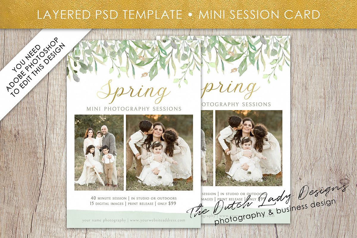 PSD Spring Photo Session Card Template - Design #36 example image 1