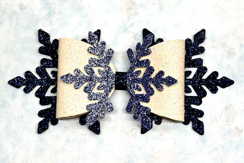 Snowflake Hair bow template SVG, DIY leather bow template example image 1