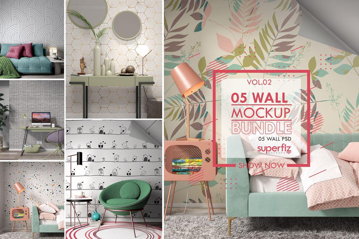 Wallpaper Mockup Bundle Vol.2 - SM98PACK - 5PSD SCENE example image 1