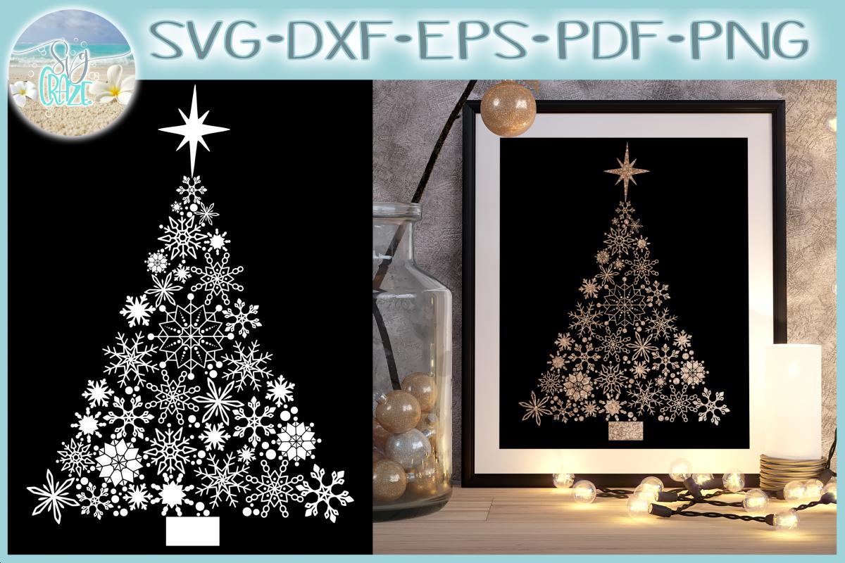 Snowflake Christmas Tree with Star SVG example image 1