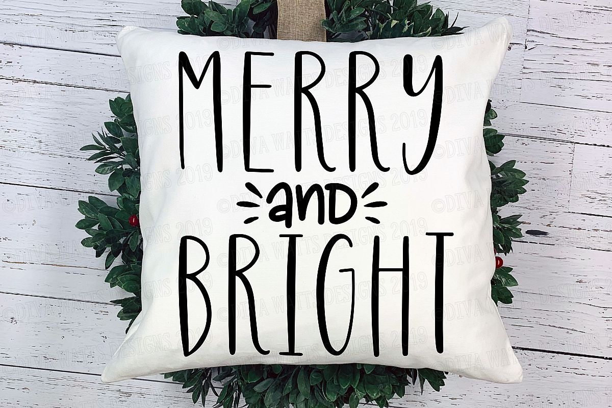 Merry and Bright Christmas Cutting File example image 1