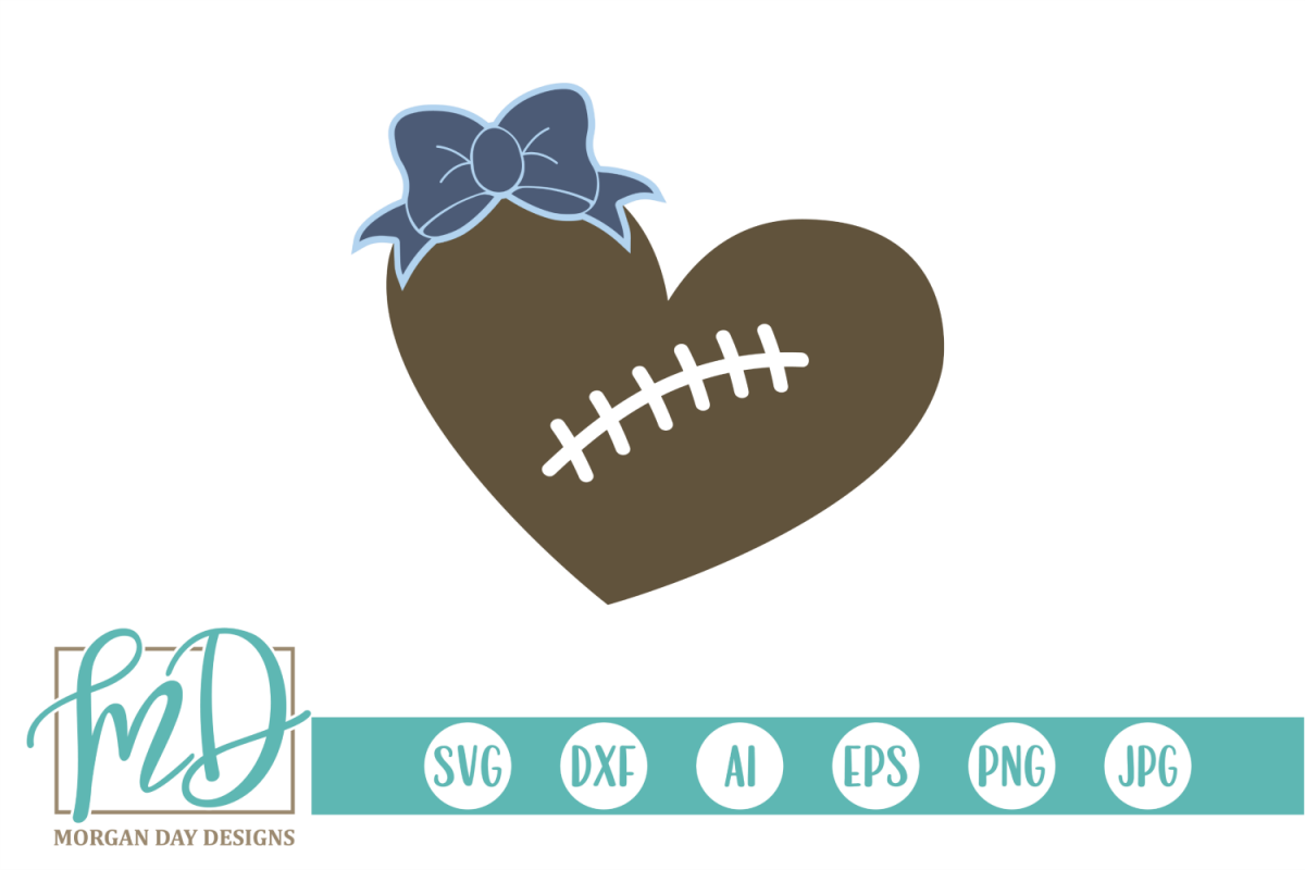 Football Mom - Football Sister - Football Heart SVG example image 1