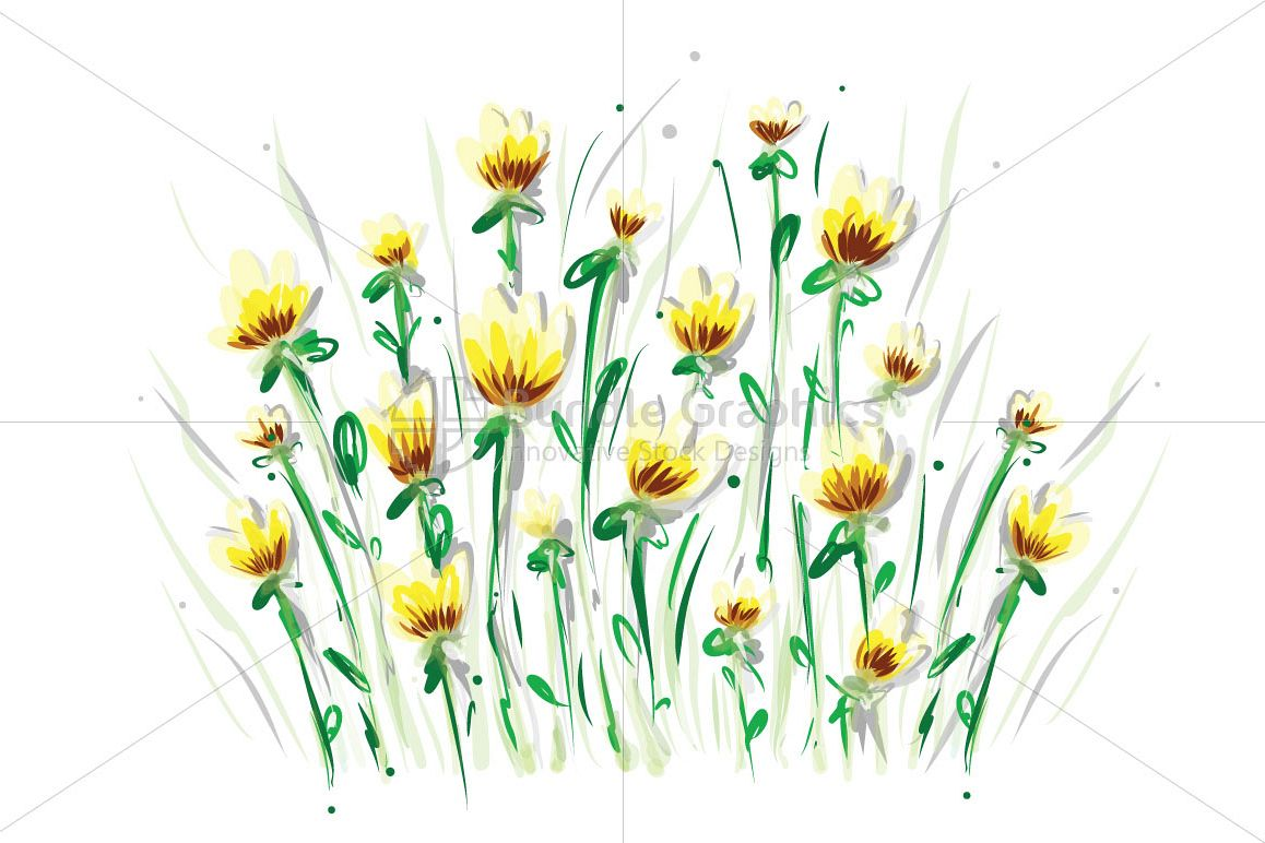Yellow Flowers - Freehand Artsitic Floral Design example image 1