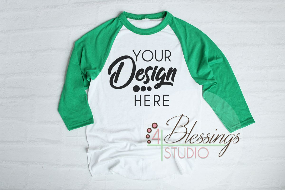 Raglan Shirt Mockup Baseball Tshirt White And Green Raglan