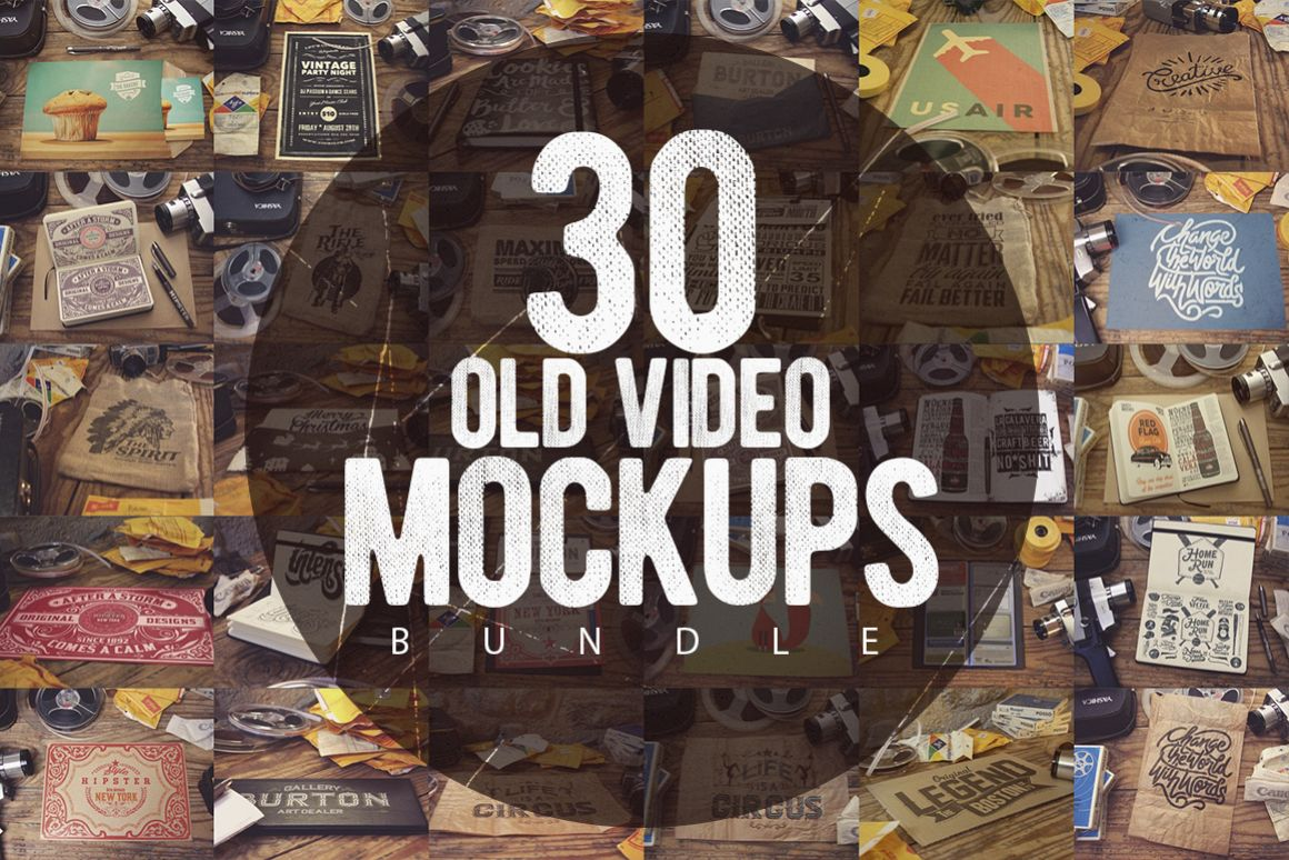 30 Old Video Mockups Bundle 50 OFF example image 1