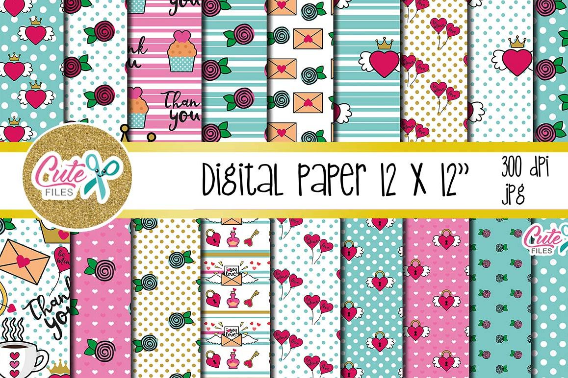 Digital papers valentines day and Printable Cards example image 1