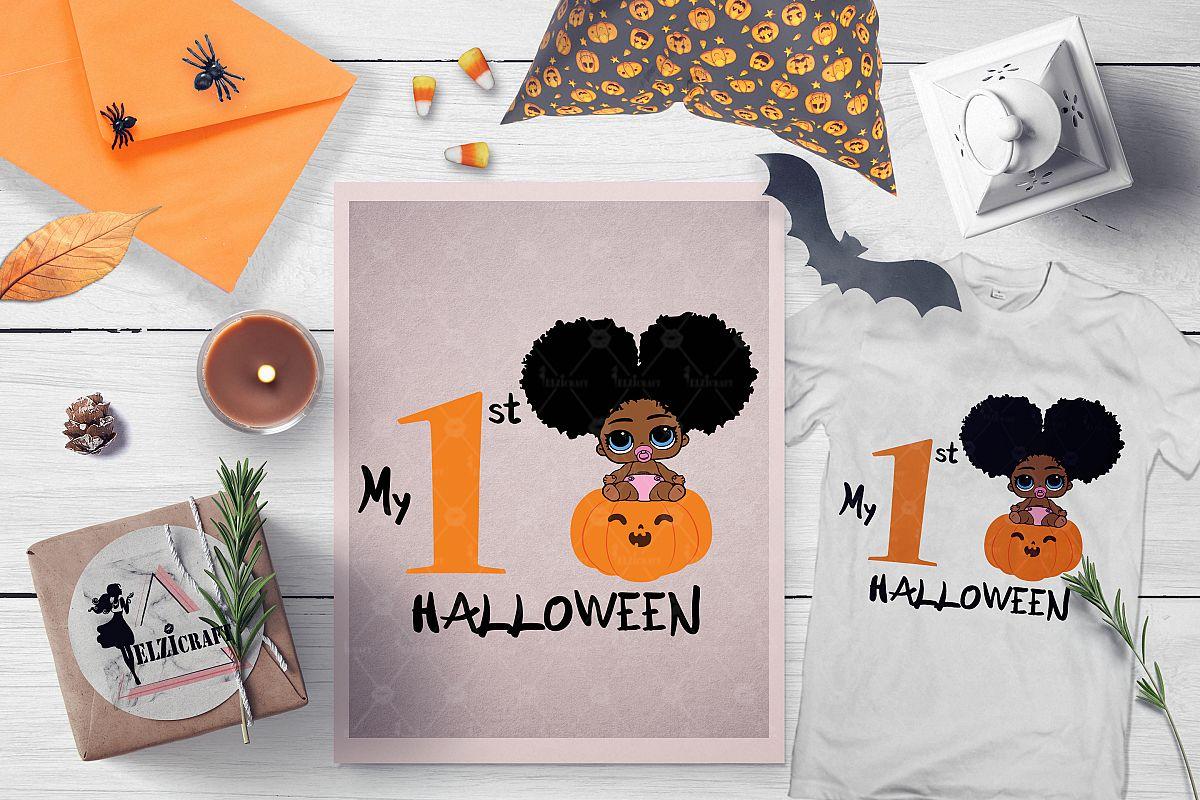 My 1st Halloween Afro Peeking Baby Girl Pumpkin Smile SVG example image 1
