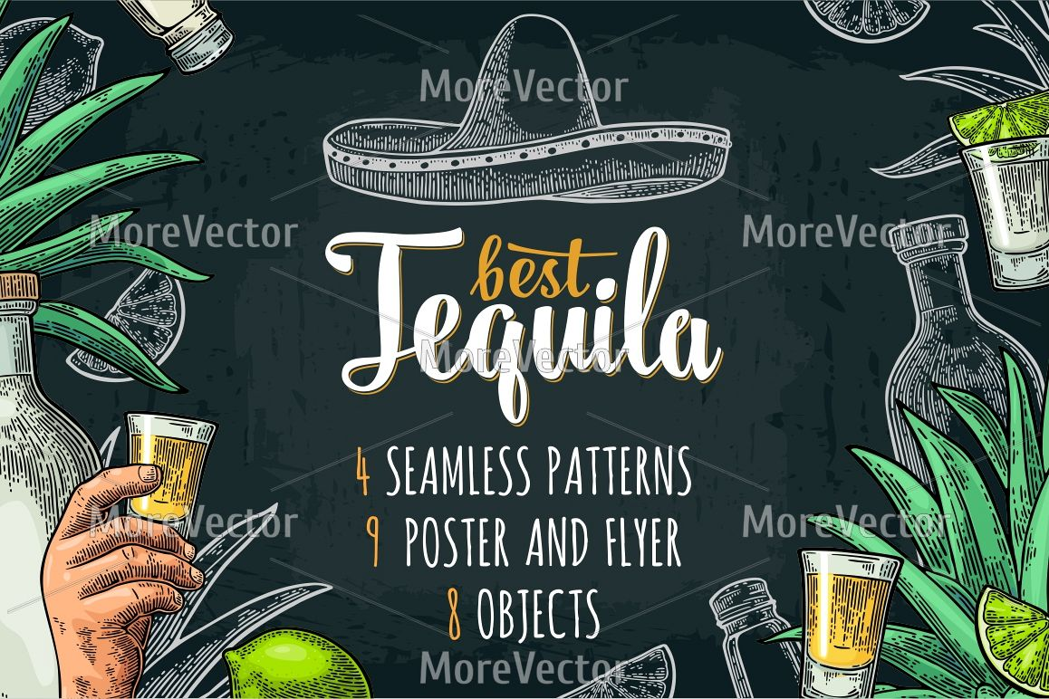 Illustration, pattern and posters Tequila with engraving.  example image 1