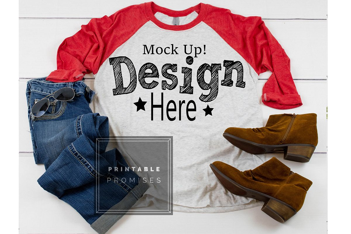 Raglan Mockup Next Level 6051 Red Raglan Mockup Shirt example image 1