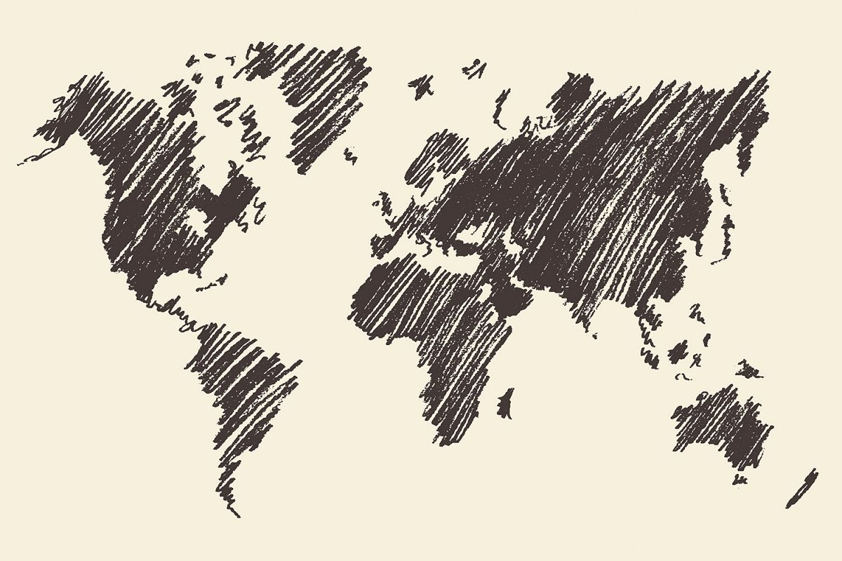 World map contour on