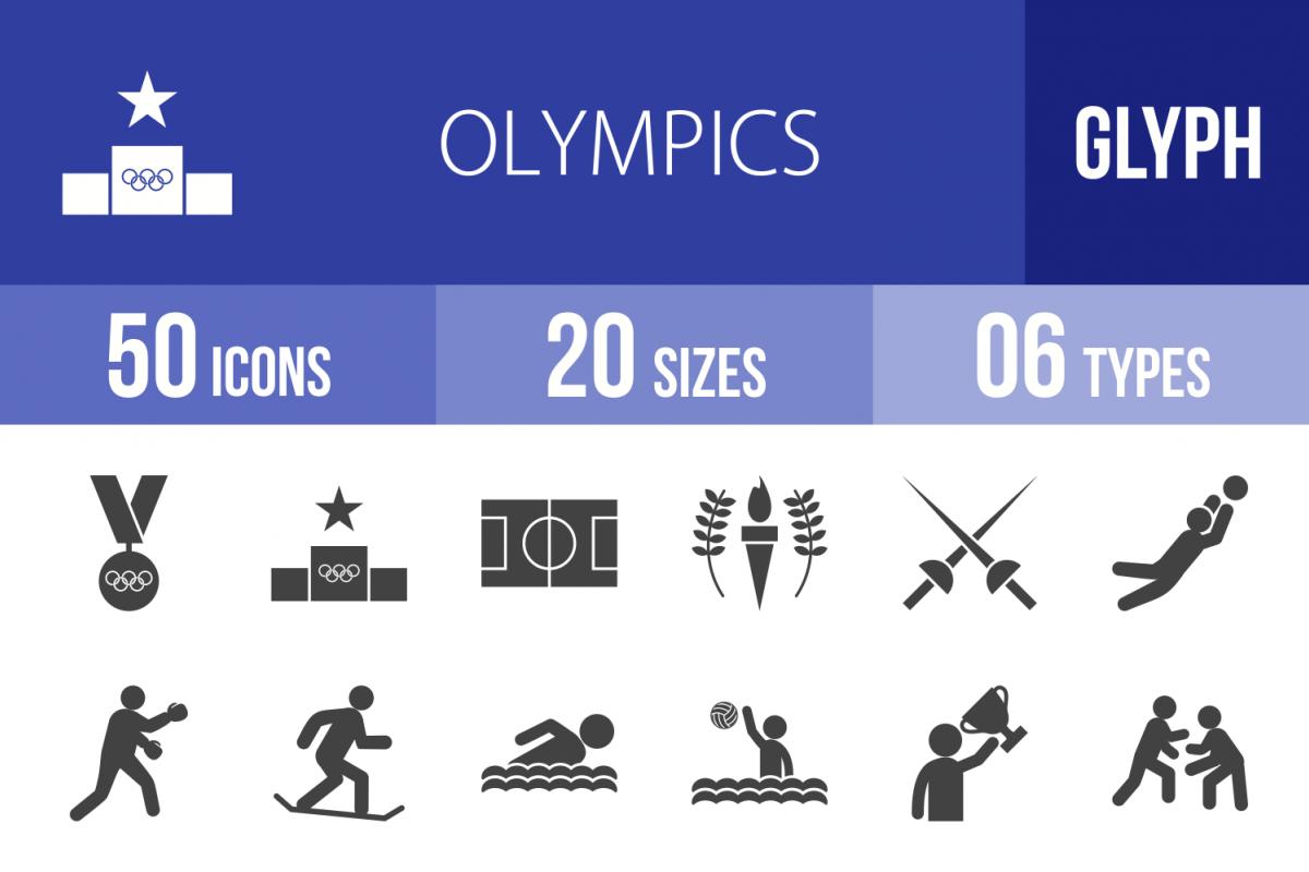 50 Olympics Glyph Icons example image 1
