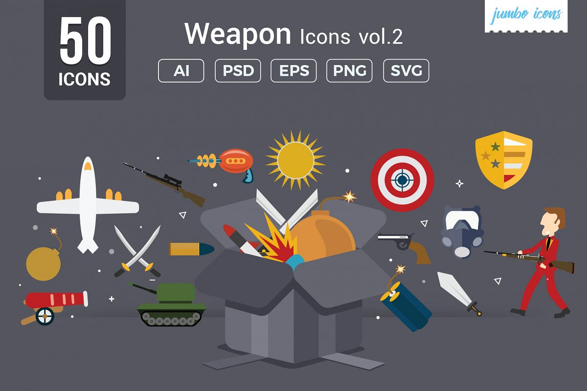Flat Icons Gaming Weapons Pack V2 example image 1