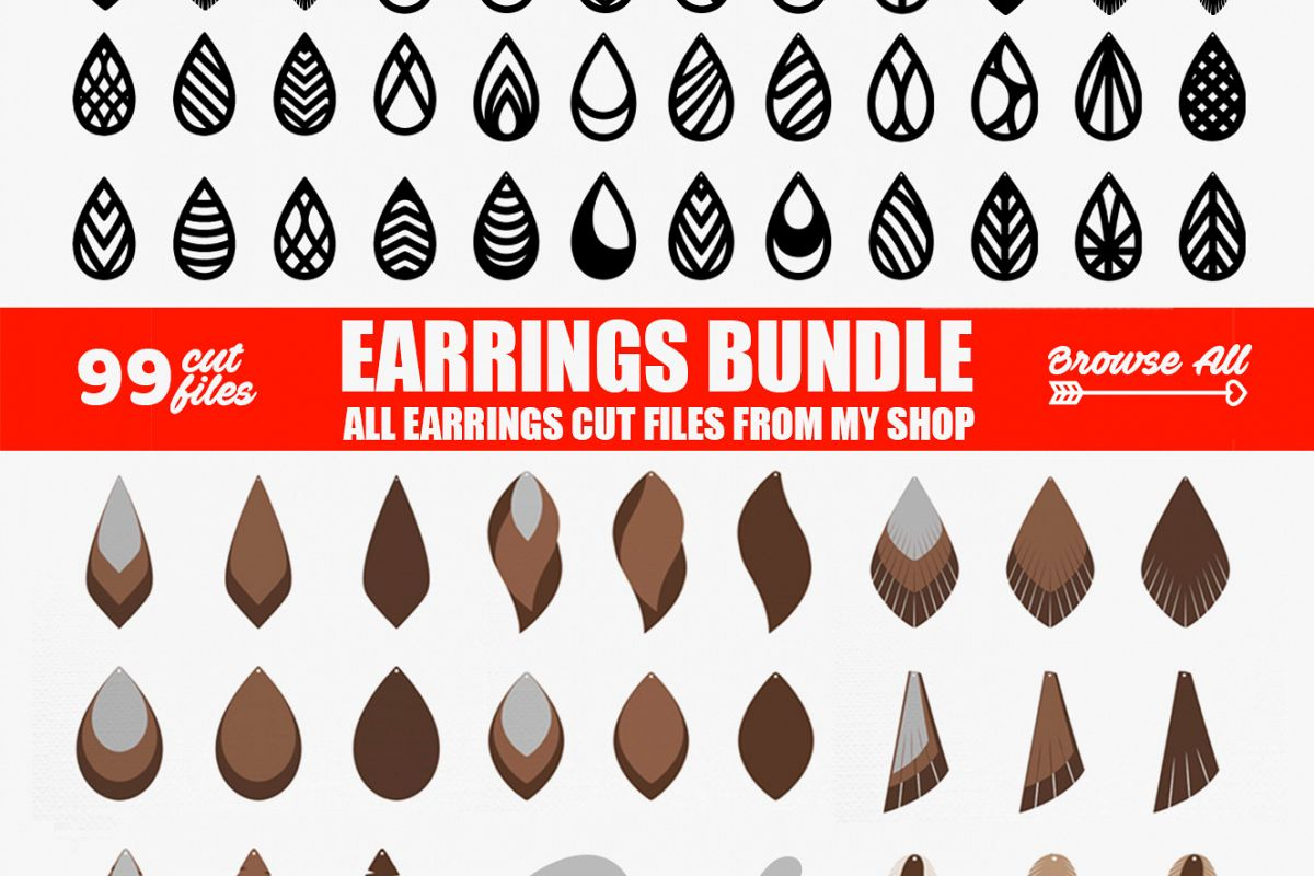 Tear Drop SVG - Pendant SVG - Earrings Bundle example image 1