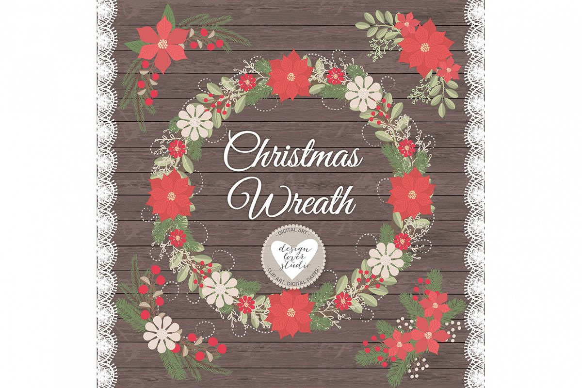 Vector Rustic christmas clipart example image 1