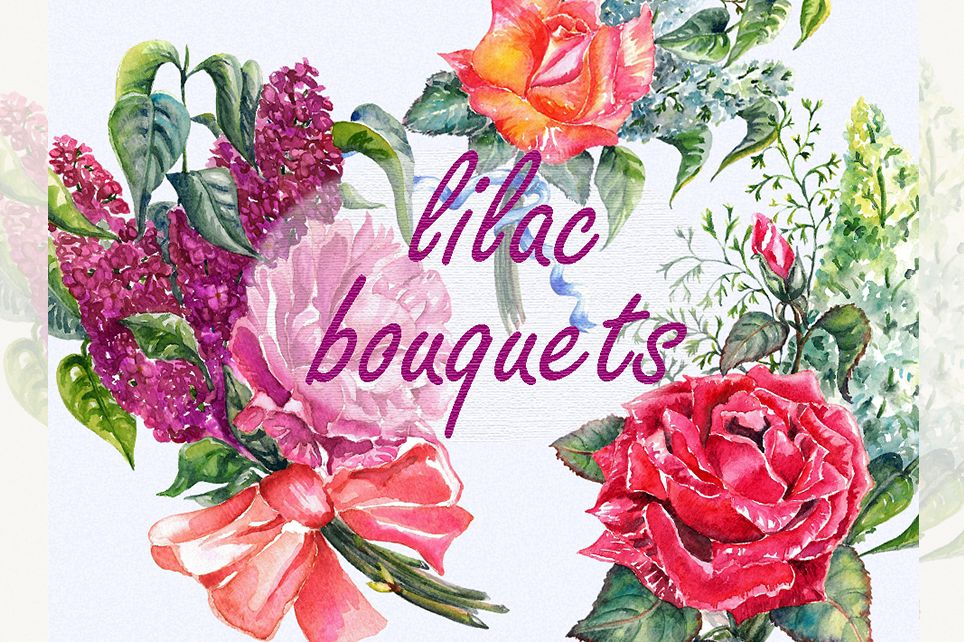 Floral bouquet clipart, Lilac clipart, rose clipart example image 1