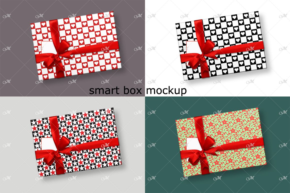 Smart Gift Box Mockup. Top view example image 1