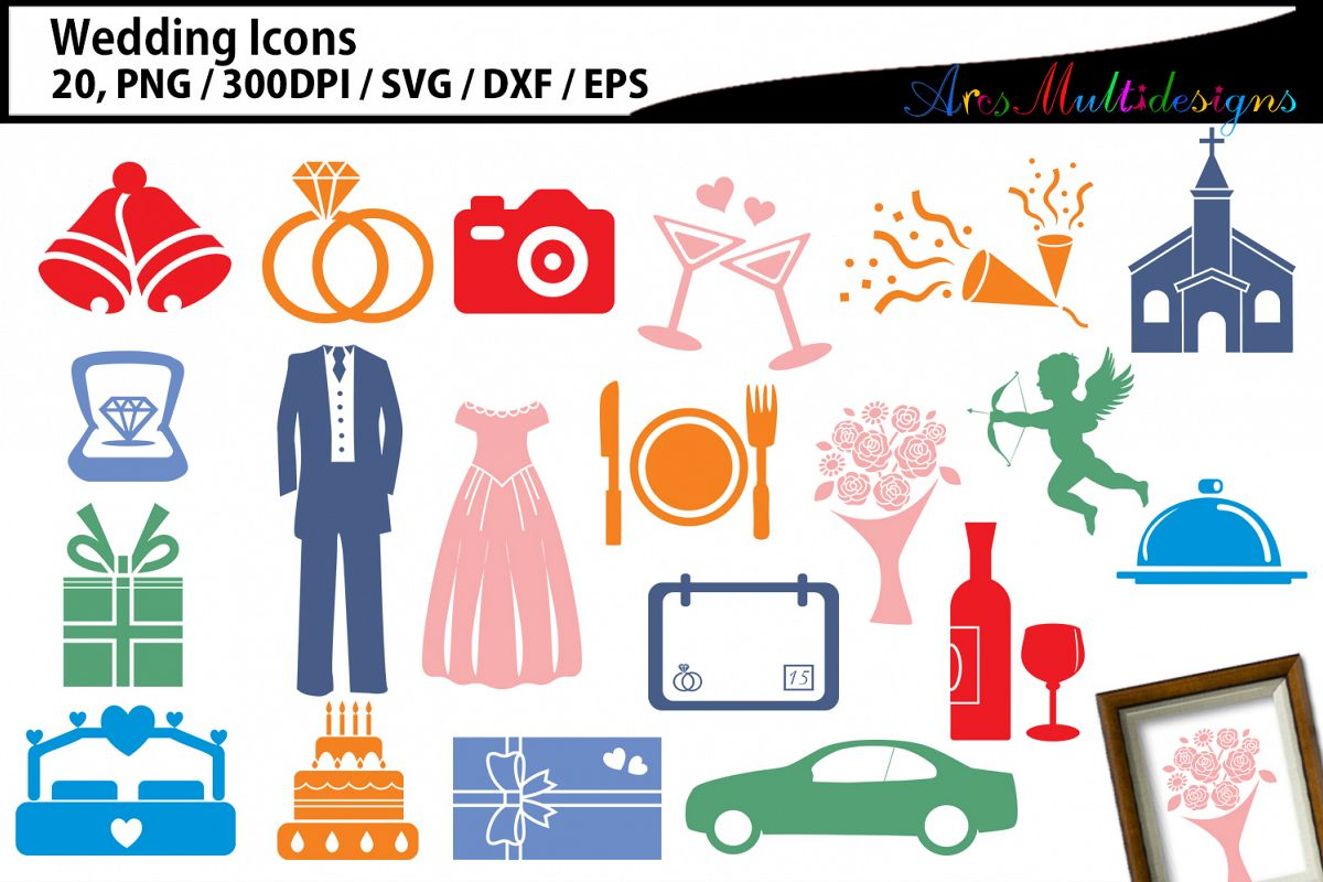 Wedding clipart SVG / Wedding party icon clipart example image 1