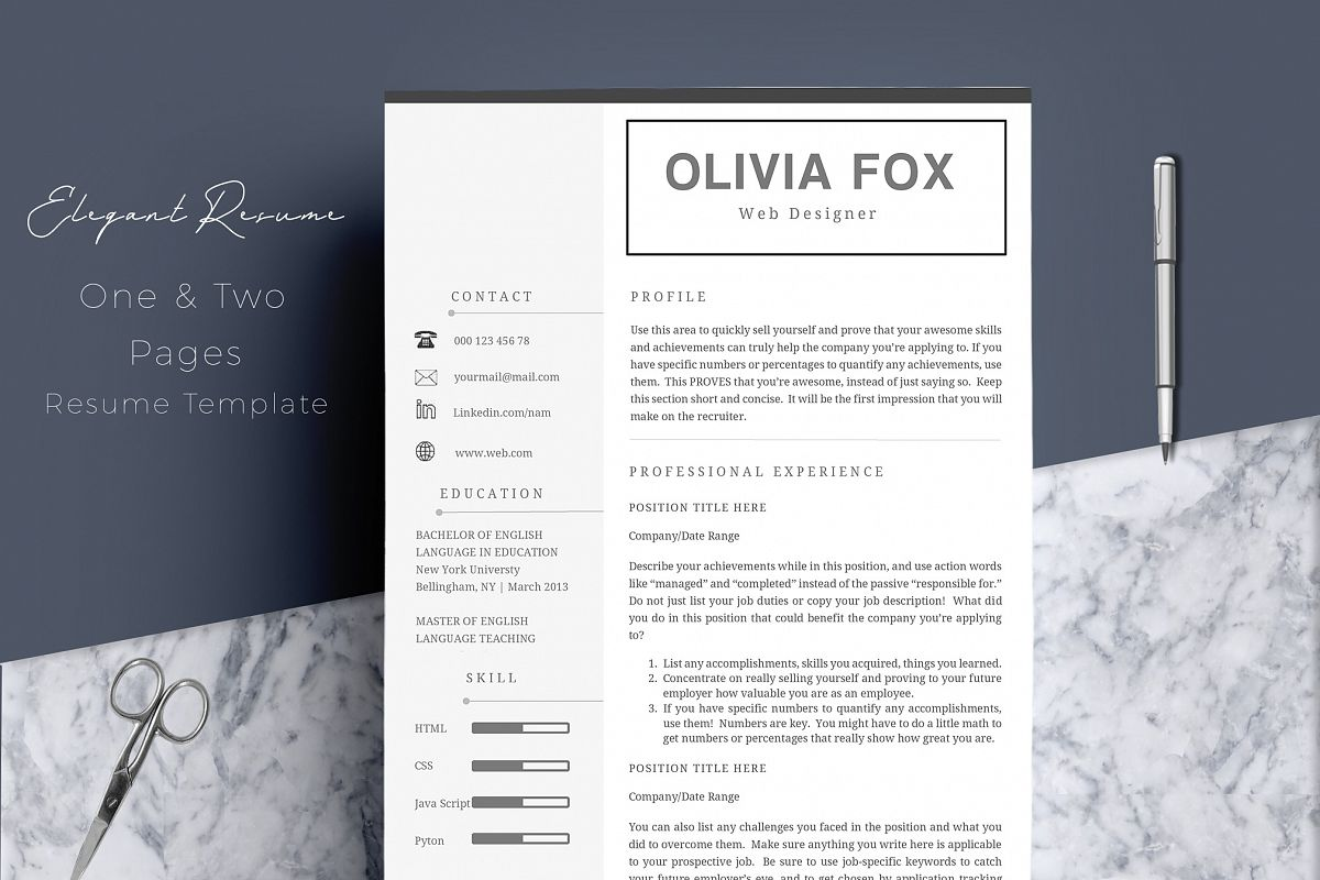 Clean Resume Template 4 Pages example image 1
