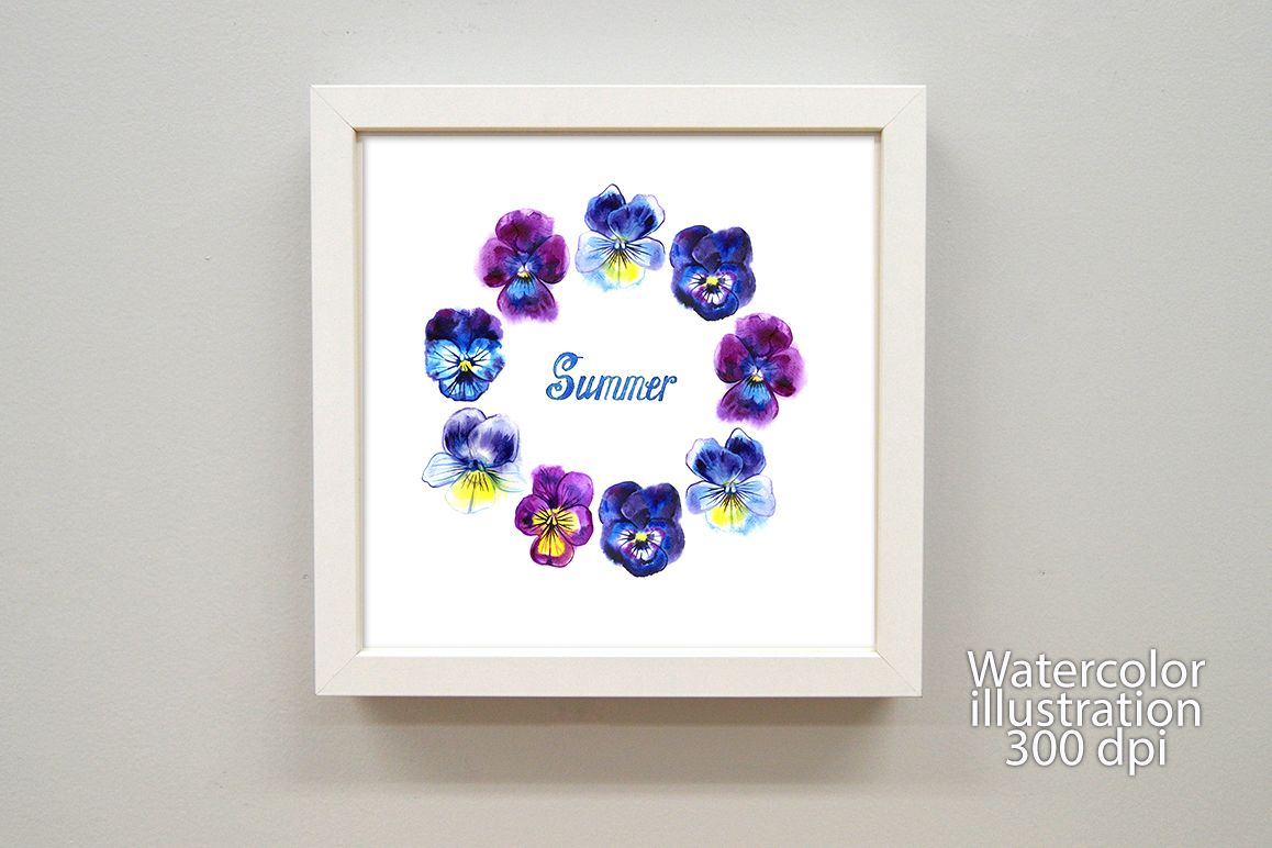Watercolor pansy greeting card example image 1