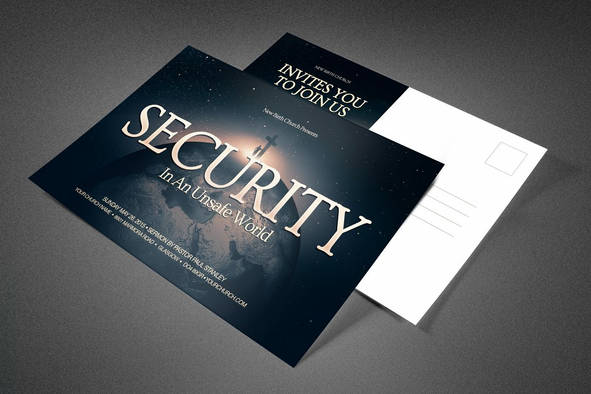 Security Church Postcard Template example image 1