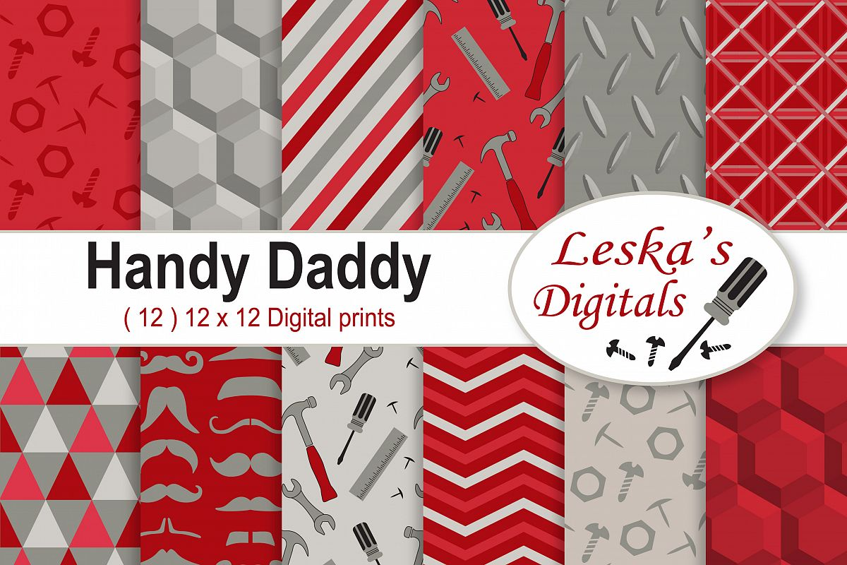 Father's Day Digital Paper Patterns - Red example image 1