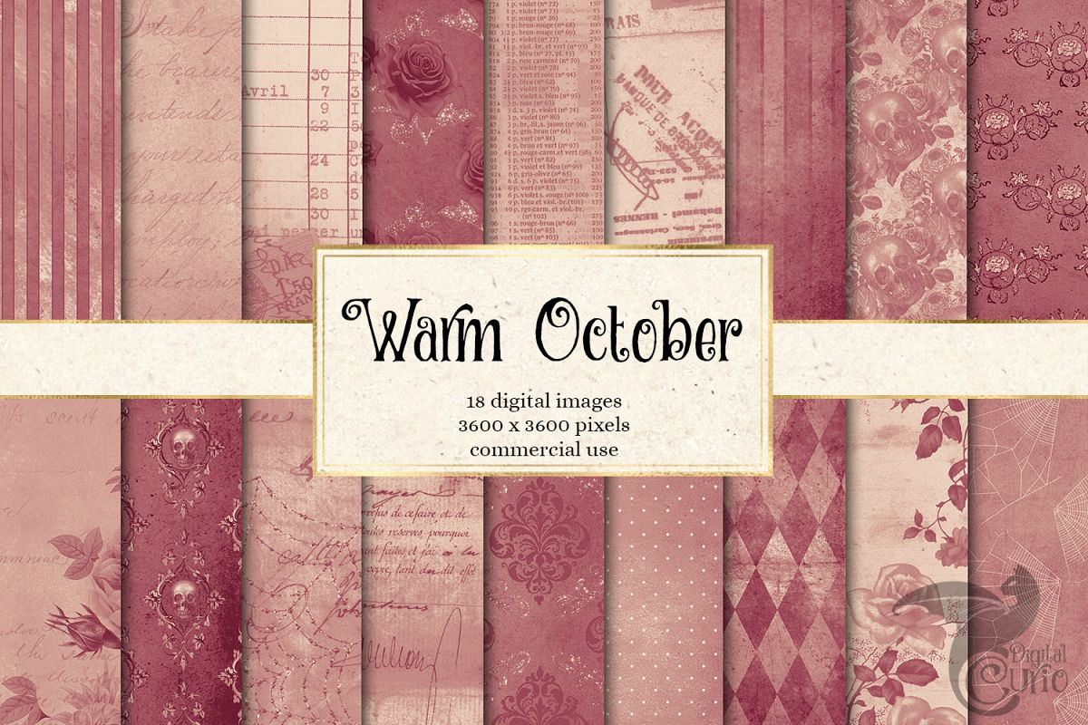 Warm October Textures - Vintage Digital Paper example image 1