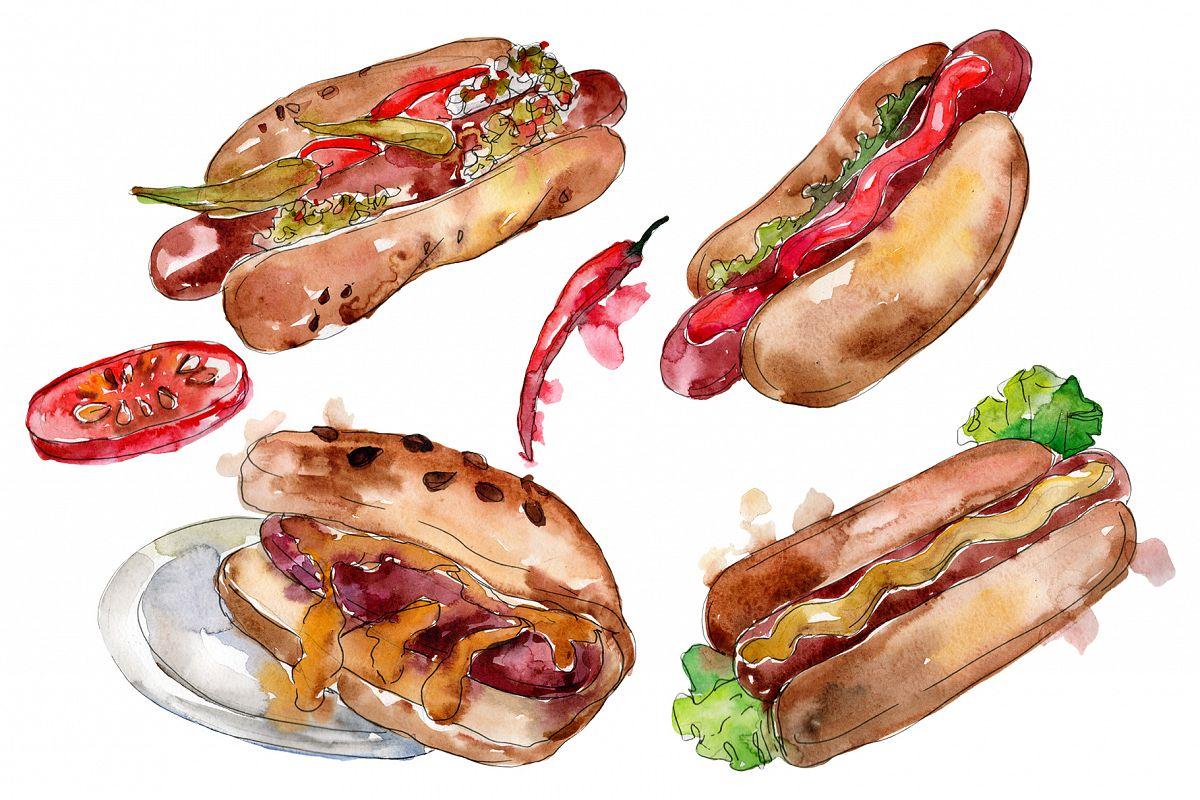 Korean hot dog watercolor png example image 1