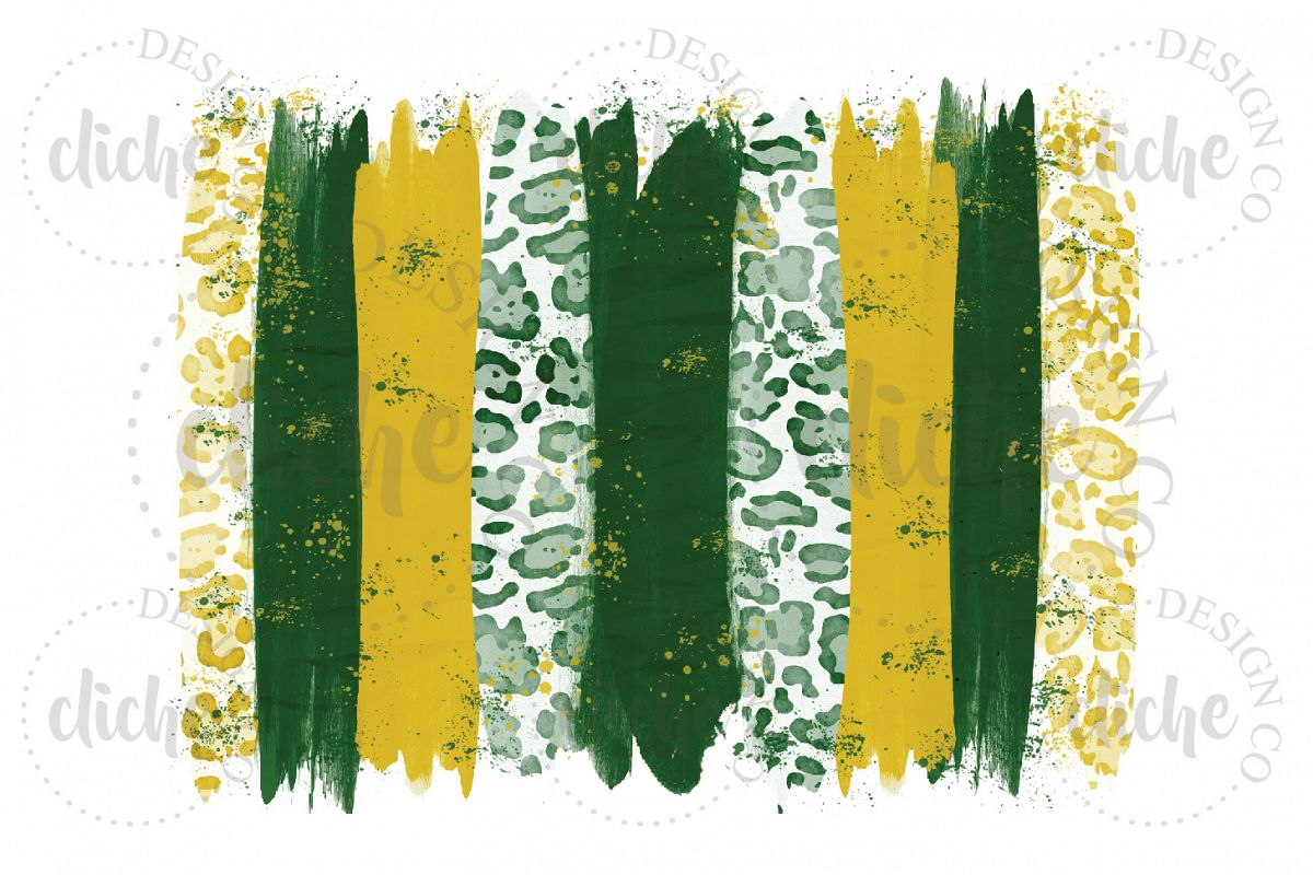 Green Yellow Paint Stroke Sublimation Design Background example image 1