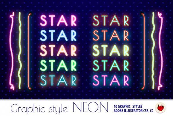 NEON Retro Graphic Styles (AI) 1 example image 1
