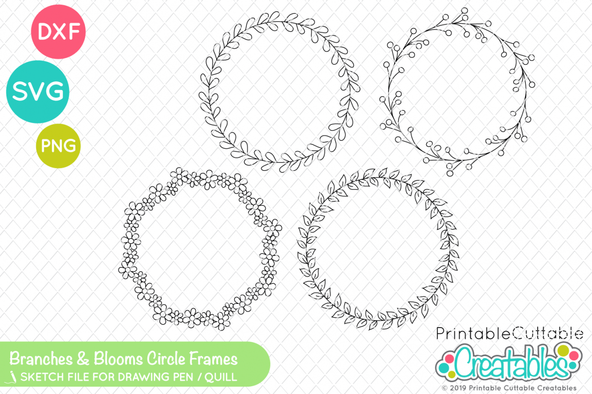 image relating to Printable Cuttable Creatables referred to as Foil Quill One Line SVG - Branches Blooms Circle Frames