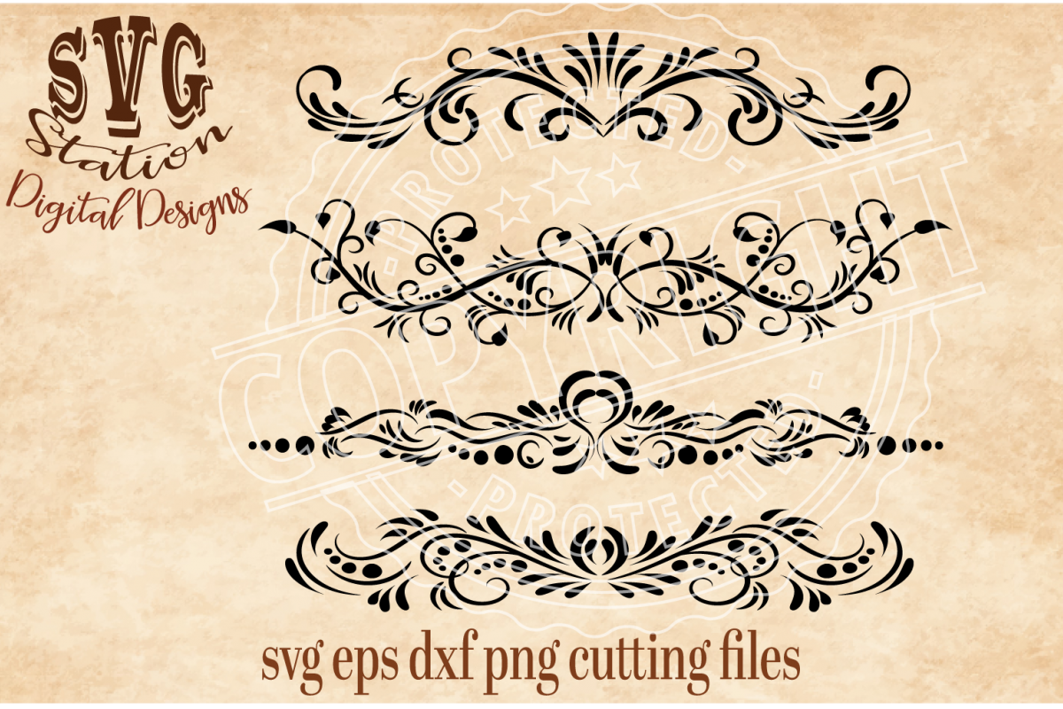 Four Ornamental Flourish Borders Cut File example image 1