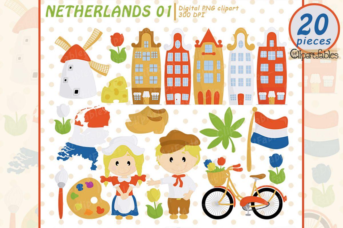 NETHERLANDS clip art, European travel party, cute Dutch art example image 1