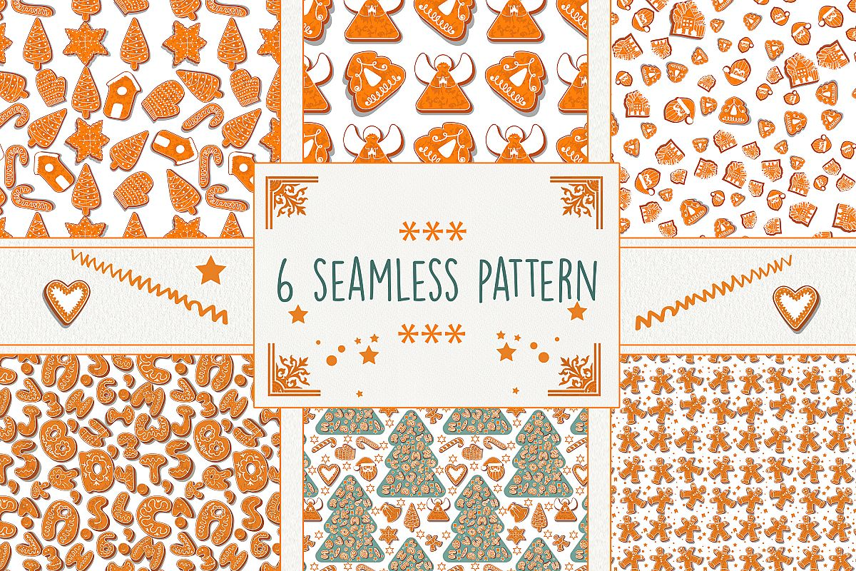 Gingerbread seamless patterns example image 1