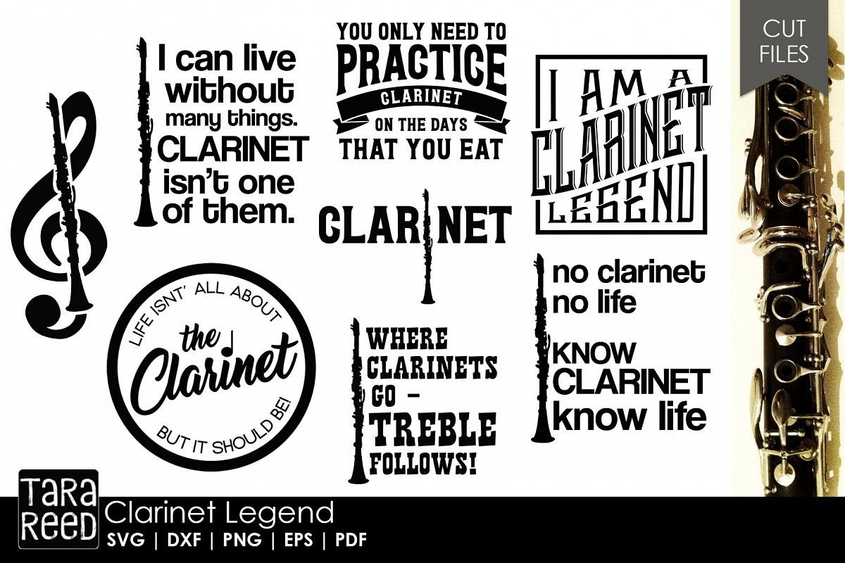Clarinet Legend - Clarinet SVG & Cut Files for Crafters example image 1
