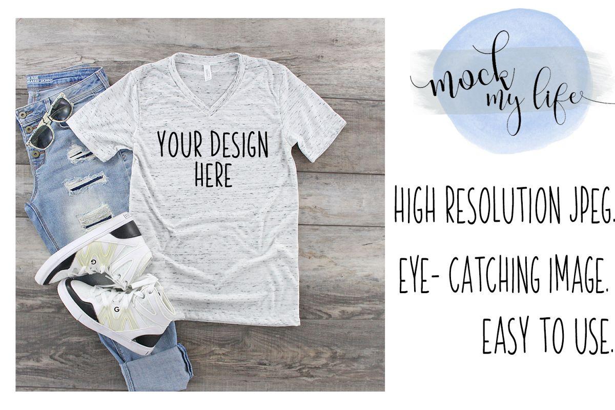 Bella Canvas Mockup / Plain Shirt Mock up / White Marble example image 1