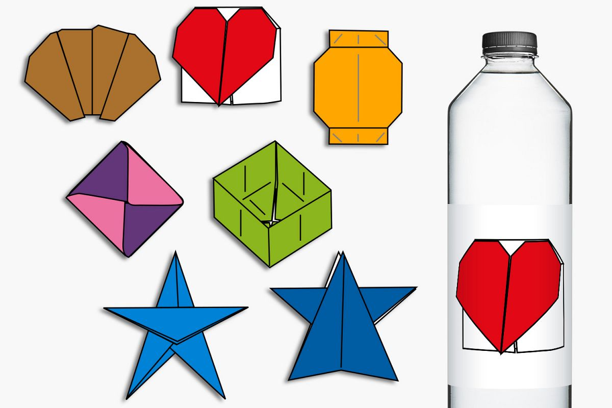 Simple origami clip art illustrations example image 1