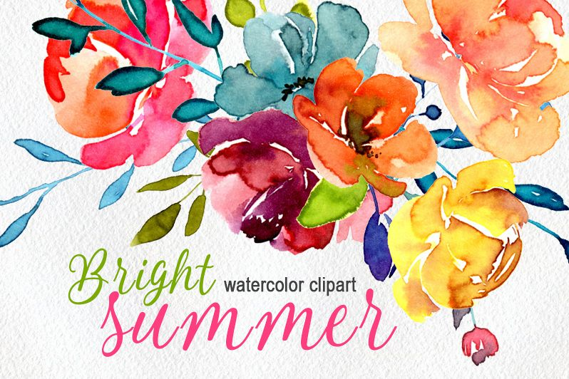 Bright watercolor summer flowers png example image 1