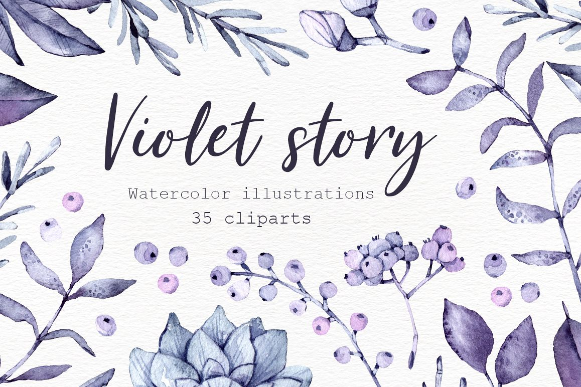 Violet Story. Watercolor clipart example image 1