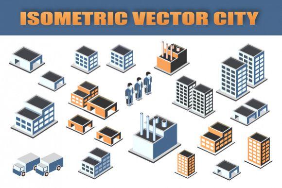 Set  Isometric vector city example image 1