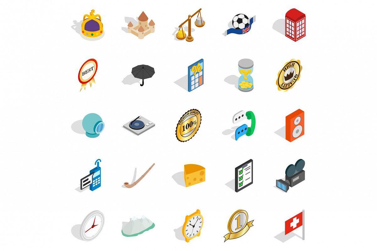 Time icons set, isometric style example image 1