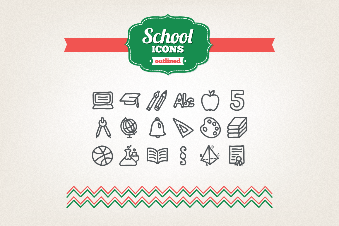 Hand Drawn School Icons example image 1
