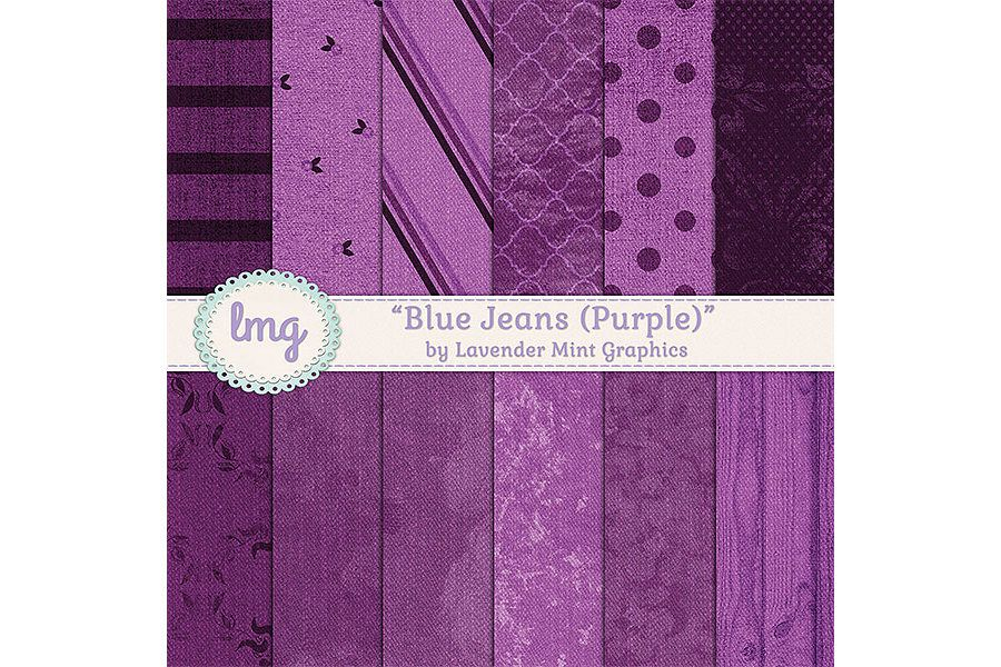Purple Denim Blue Jean Digital Paper example image 1