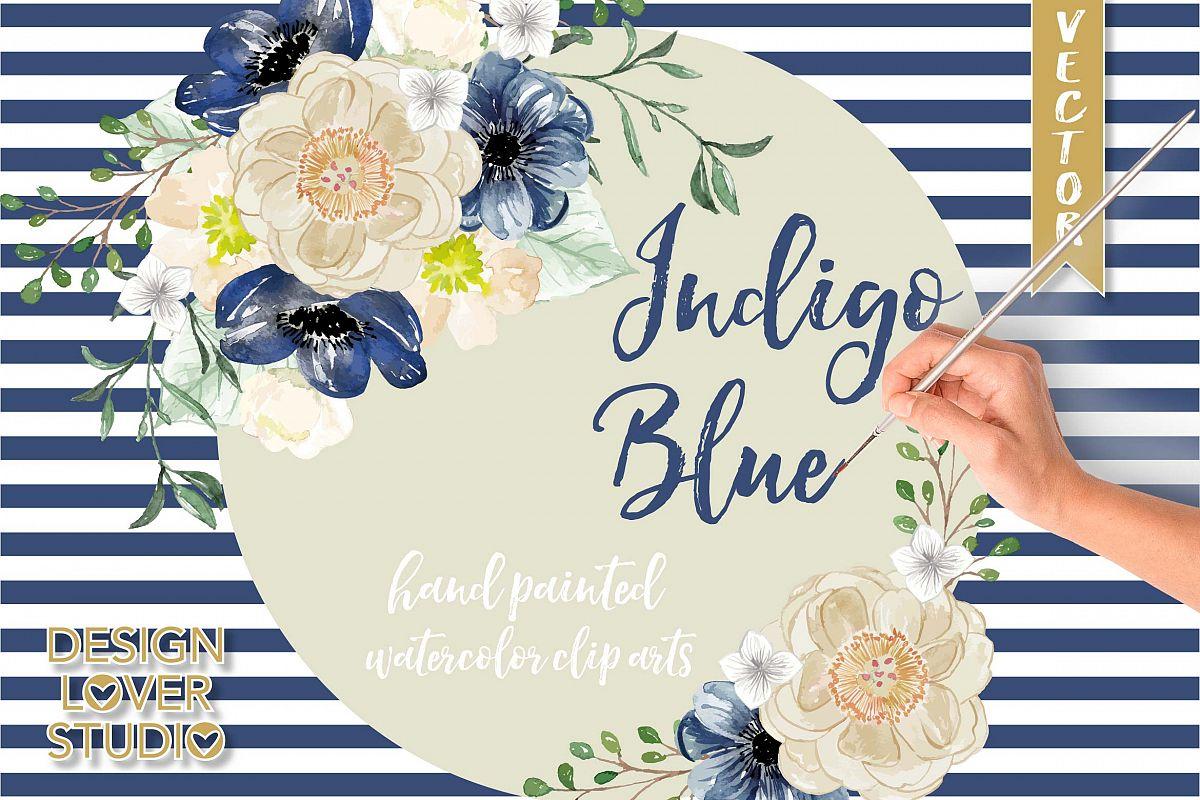 Watercolor Indigo Blue floral clip arts example image 1