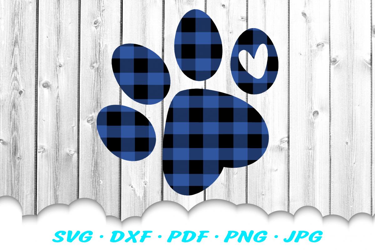 Christmas Buffalo Plaid Dog Paw SVG DXF Cut Files example image 1